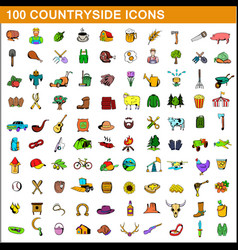 100 countryside icons set cartoon style vector image
