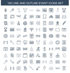 100 event icons vector image