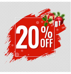 20 sale red blobs banner transparent background vector image