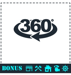 360 degree icon flat vector