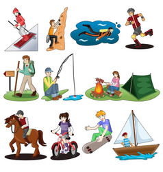 active people doing outdoor activities vector image