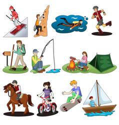 active people doing outdoor activities vector image