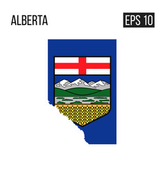 Alberta map border with flag eps10 vector