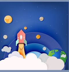 And space rocket launch and galaxy paper art style vector