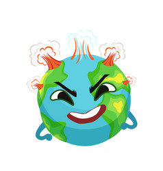 Angry earth planet character with volcanoes vector