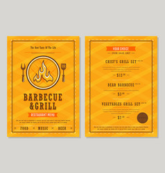 barbecue and grill menu design template vector image