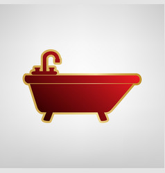 Bathtub sign red icon on vector
