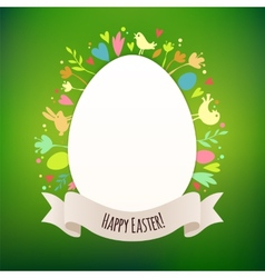 beautiful green easter card with symbols spring vector image