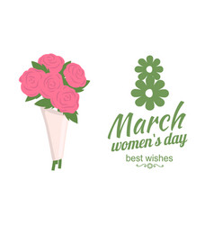 best wishes womens day bouquet of roses vector image