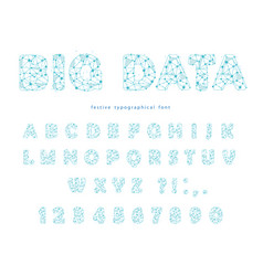 big data modern font isolated on white polygonal vector image
