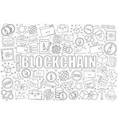 blockchain background from line icon vector image