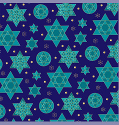 Blue gold jewish star background pattern vector