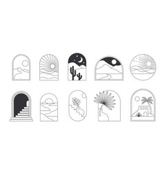 bohemian linear logos icons and symbols vector image