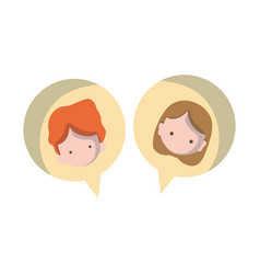 boy and girl head inside chat bubble vector image