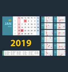 calendar 2019 blue set week starts on sunday vector image