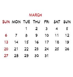 Calendar march 2016 hand drawn vector image