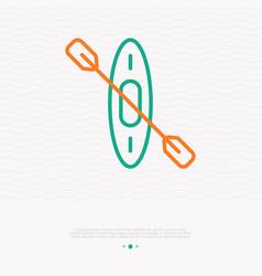 canoe thin line icon modern vector image