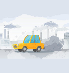 car air pollution city road smog factories smoke vector image