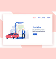 car sharing service website template with vector image