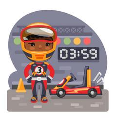 Cartoon girl racer and go-kart vector
