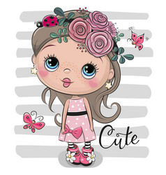 cartoon girl with flowers and ladybug vector image