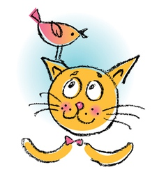 cat with bird cartoon vector image