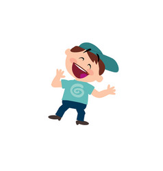 Character of a cheerful white boy with blue cap vector