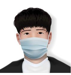 Chinese boy in corona virus medical face mask vector