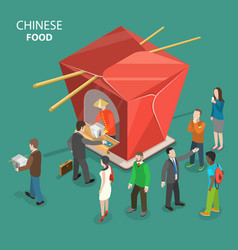 chinese food flat isometric low poly concept vector image
