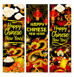 Chinese new year fireworks greeting banners vector