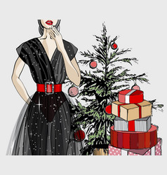 christmas and new year fashion card vector image