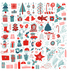 christmas big set festive elements snowman vector image