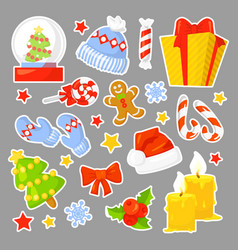 Christmas icon set collection cartoon stickers vector