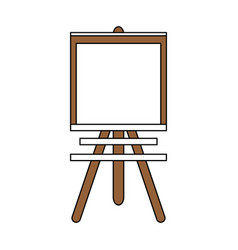 Color silhouette image cartoon wooden easel for vector