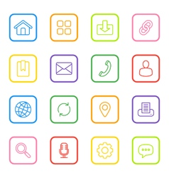 Colorful line web icon set rounded rectangle vector