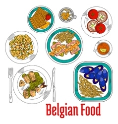 Colorful sketch dishes of native belgian cuisine vector