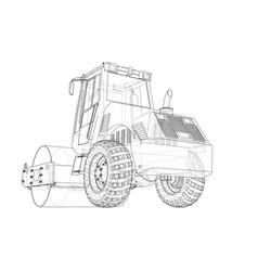 Construction machine asphalt compactor vector