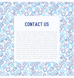 contact us concept with thin line icons vector image