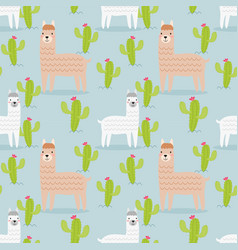 cute alpaca and cactus seamless pattern vector image