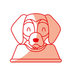 Cute dog mascot with dish food vector