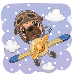 Cute pug dog is flying on a plane vector