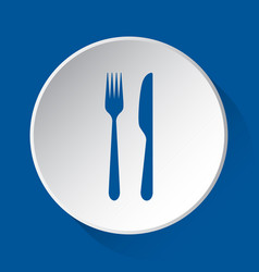 Cutlery - simple blue icon on white button vector