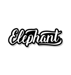 Elephant calligraphy template text for your design vector