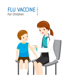 Female doctor injecting flu vaccine for children vector