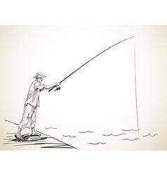 Fishing man vector
