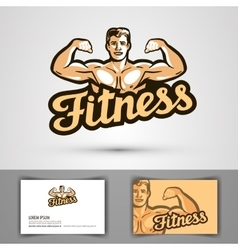Fitness logo gym or bodybuilding icon vector