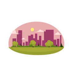 Flat cartoon green city concept isolated vector