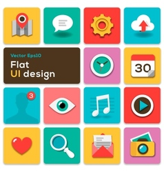 Flat UI design trend set icons vector image