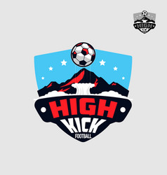 football soccer team with mountain emblem logo vector image