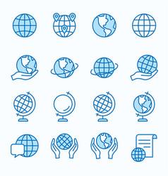 globe flat line icon set vector image